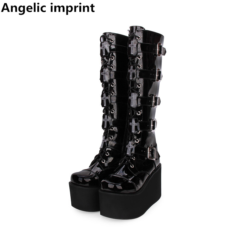 Angelic imprint handmade mori girl Women motorcycle punk boots lady lolita Boots woman high heels pumps wedges platform shoes