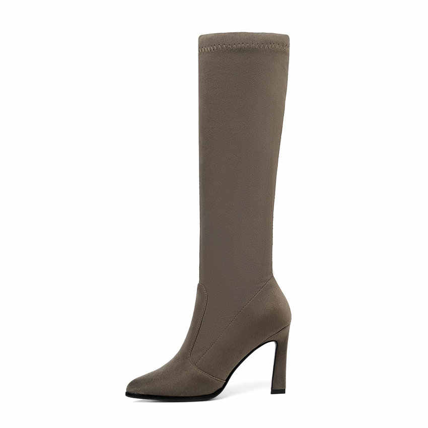 Esveva 2020 Đầu Gối Giày Cao Cổ Mùa Đông Ấm Giày Bốt Nữ Đế Xe Máy Vuông Cao Cấp Vải Co Giãn Size 34 -43