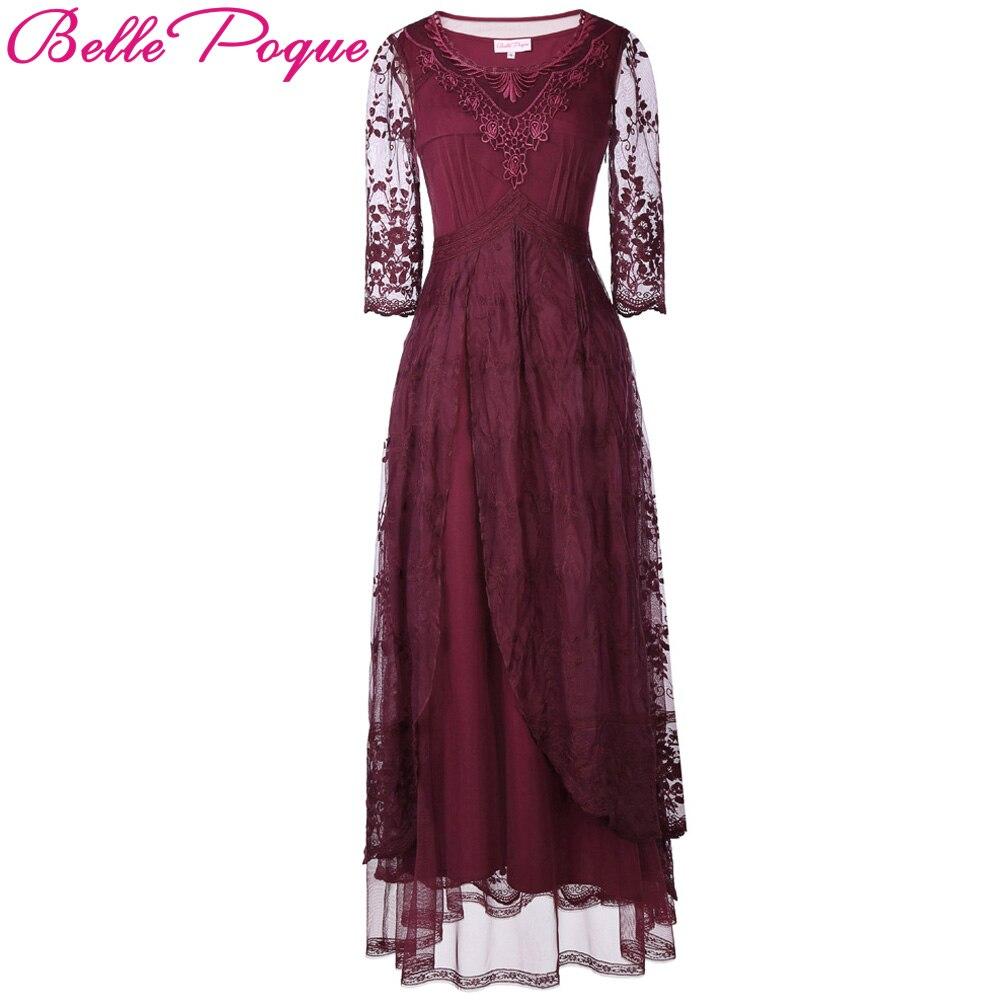 8cdec81ede Belle Poque Floor Length Maxi Dress Crew Neck 3 4 Sleeve Wine Red Patchwork  Lace
