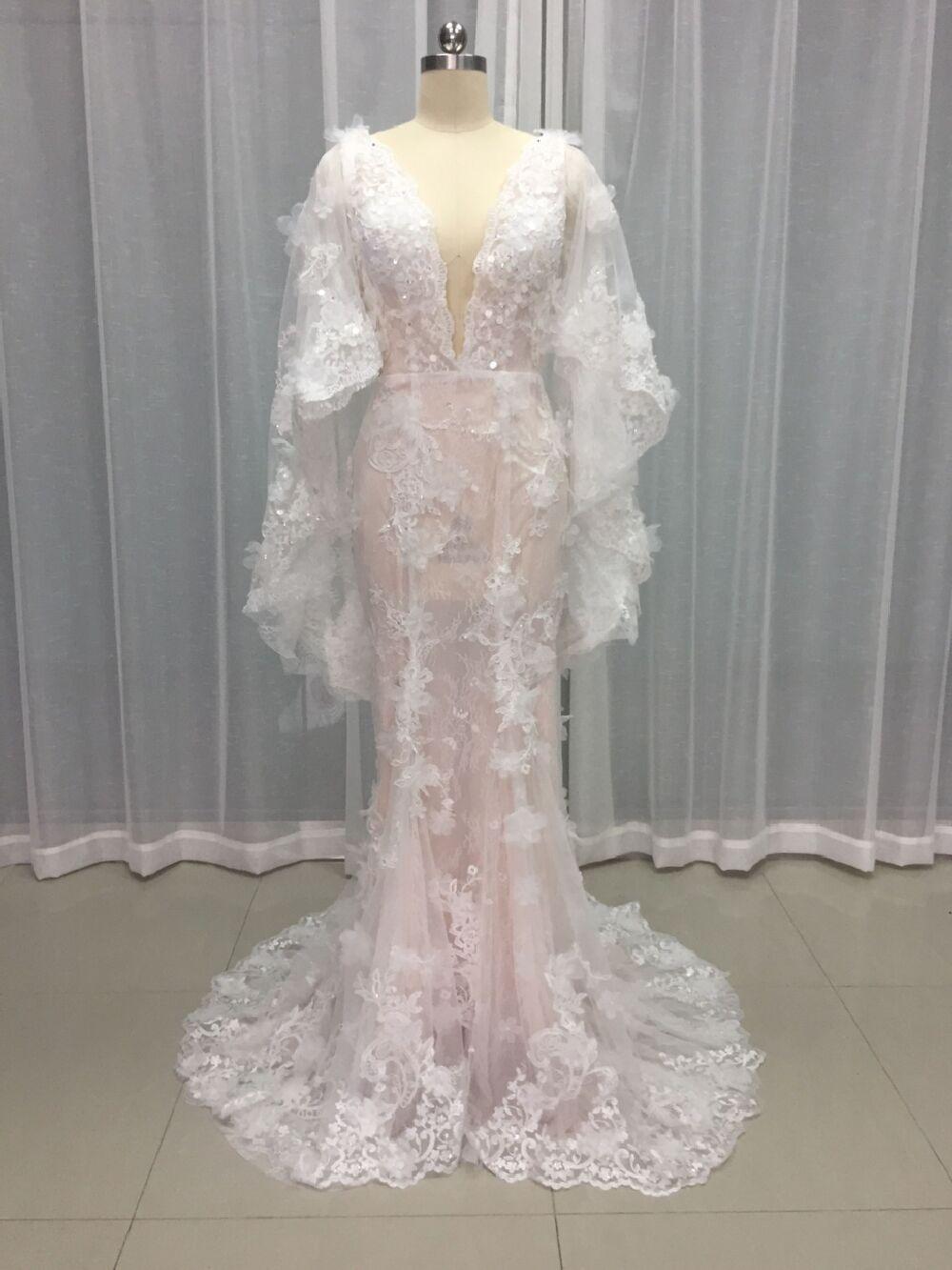 2017 New Designer Wedding Dresses Deep V Neck Lace Wedding Gowns ...
