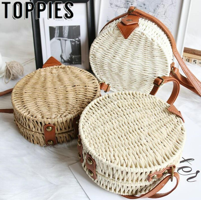 2019 Summer Women Beach Bohemian Ratten Bali Bag Quality Paper Rope Knitting Round Bags Circle Beach Bag