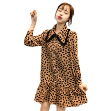 купить Stylish Women Casual Shirt Dresses Leopard Print Shirtdress Woman Peter Pan Collar Vestidos Ruffle Hem Dress Girls Streetwear по цене 1807.39 рублей