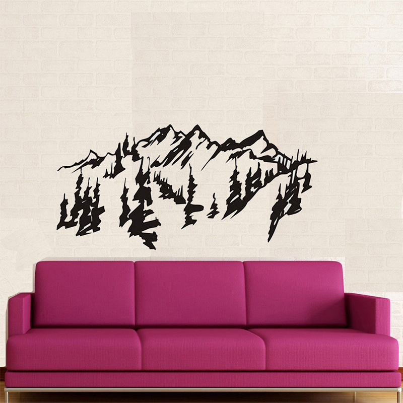 chinese style mountains trees wall art decal sticker , removable