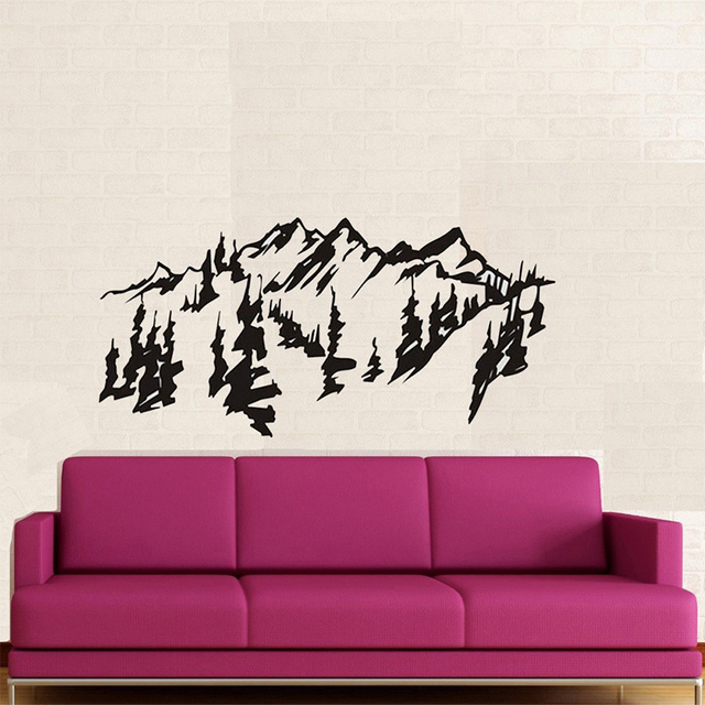 Aliexpress.com : Buy Chinese style Mountains trees wall art decal ...