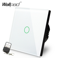 EU UK Standard Wallpad Luxury White Touch Crystal Glass 1 Gang 2 Way 3 Way Intermediate Remote Control Light Switch