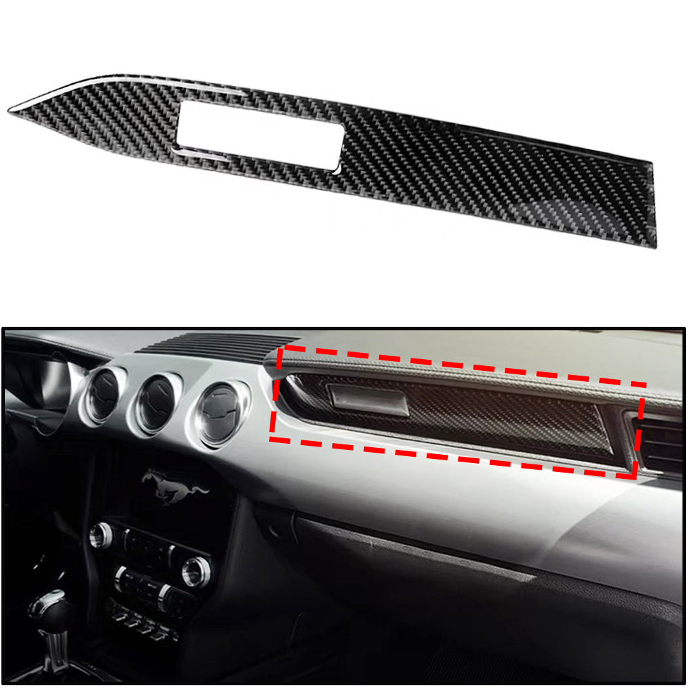 JEAZEA Carbon Fiber Interior Car Dashboard Decoration Strip Car-Styling Sticker Trim For Ford <font><b>Mustang</b></font> <font><b>2015</b></font> 2016 2017 <font><b>Accessories</b></font> image