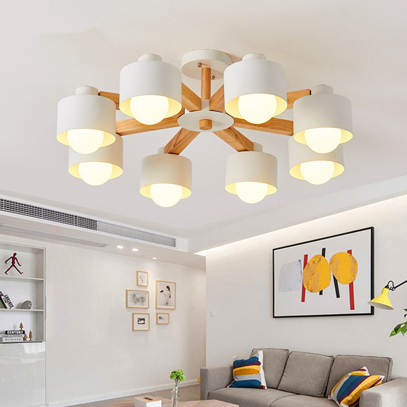 LED Chandelier For Living Room Wood Lustre E27 Chandelier Lighting With Lampshades Dining Chandeliers Kitchen Lamps