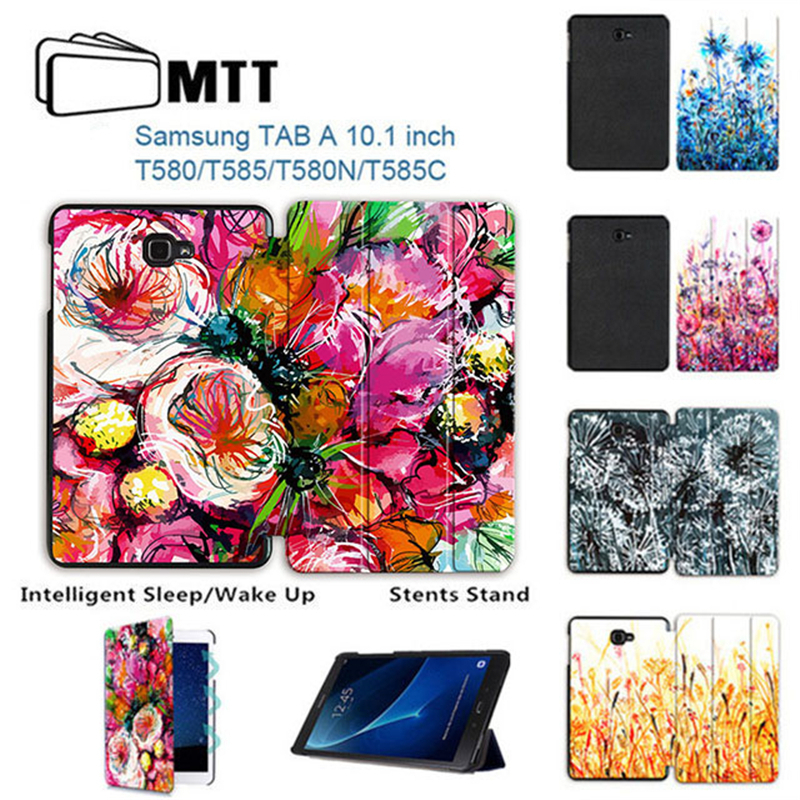 MTT Watercolor Dandelion Flip PU leather Case For Samsung Galaxy 2016 Tab A A6 10.1 T580 SM-T580 T585 Smart Shell Stand Cover все цены