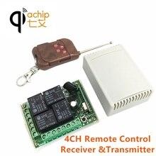 QIACHIP 433Mhz commutateur de télécommande sans fil universel DC 12V 4CH Module récepteur de relais avec émetteur à distance RF 4 canaux