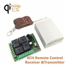 Qiachip 433 mhz universal sem fio interruptor de controle remoto dc 12 v 4 ch relé módulo receptor com 4 canal rf remoto transmissor