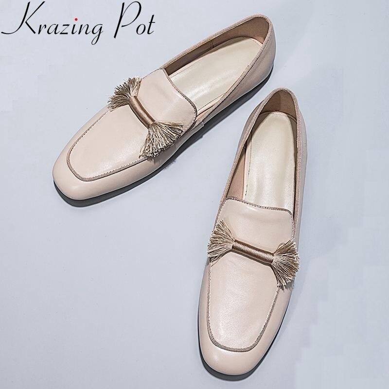 Ayakk.'ten Kadın Topuksuz Ayakkabı'de Krazing Pot 2019 hakiki deri makosenler yuvarlak ayak üzerinde kayma kadınlar flats saçak ofis lady bahar marka tatlı rahat ayakkabılar L49'da  Grup 1
