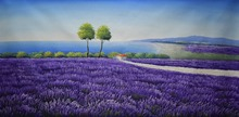 Hand Painted Flower Oil Painting on Canvas Beautiful Wall Lavender Field Scenery Art Picture for Home Decor