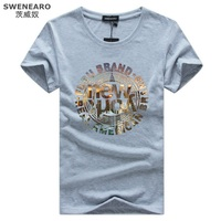 SWENEARO Big Size S-5XL New York Shirt Men Fashion T-shirt 95%Cotton 5%Spandex O-Neck Casual T-shirt Homme Camisetas Free Ship