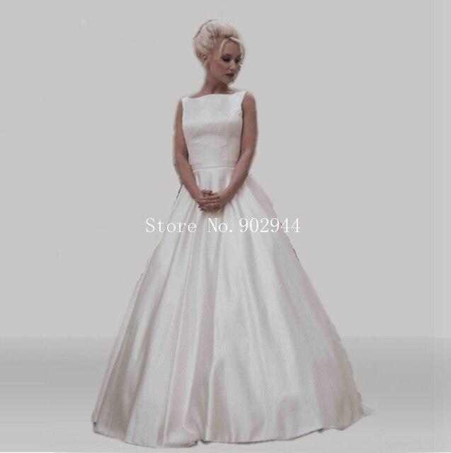 simple bateau vestidos de novia 2015 sin mangas de la cinta cinturón