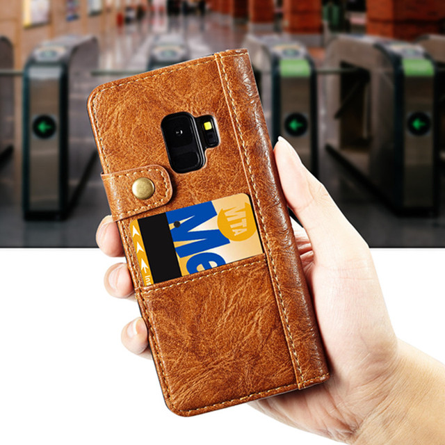Note 9 CaseMe New Phone Case For Samsung S9 S8 Plus S7 E Luxury Retro Leather Wallet Card Pocket Flip Cover For Samsung Note 9 8