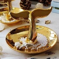 Fashion Jewelry plate Necklace Earrings Rings whale tail Stand Display dish creative gifts wedding decoration ashtray