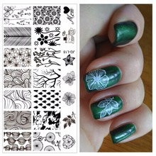 Flowers Trees Leaves Designs Professional Nail Art Stamping Image Plate Tools For Girl Manicure #JQ-L18