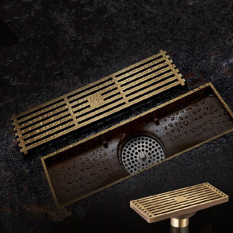 Antique Brass Square Floor Drain Bathroom Linear Shower Floor European Drain Wire Strainer Art Carved Cover Waste Drainer G50 drains 12 12cm antique brass shower floor drain bathroom deodorant euro square floor drain strainer cover grate waste hj 8702s