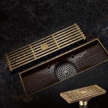 Antique Brass Square Floor Drain Bathroom Linear Shower Floor European Drain Wire Strainer Art Carved Cover Waste Drainer G50