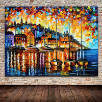 Modern Palette Sailboat Harbor City Knife Oil Painting On Canvas Art Sets For Living Room Home Decor Abstract Picture Gift loves