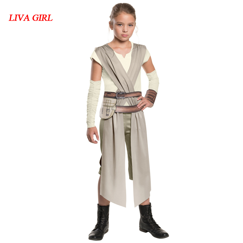 New Arrival Child Classic Star Wars The Force Awakens Rey Fancy Dress Girls Movie Charater Carnival Cosplay Halloween Costume