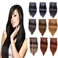 Remy Clip In Human Hair Extensions  Brazilian Hair Clip in Extensions Real Human Hair Clip ins 120g-220g 1B#  Black 7/8/10pcs