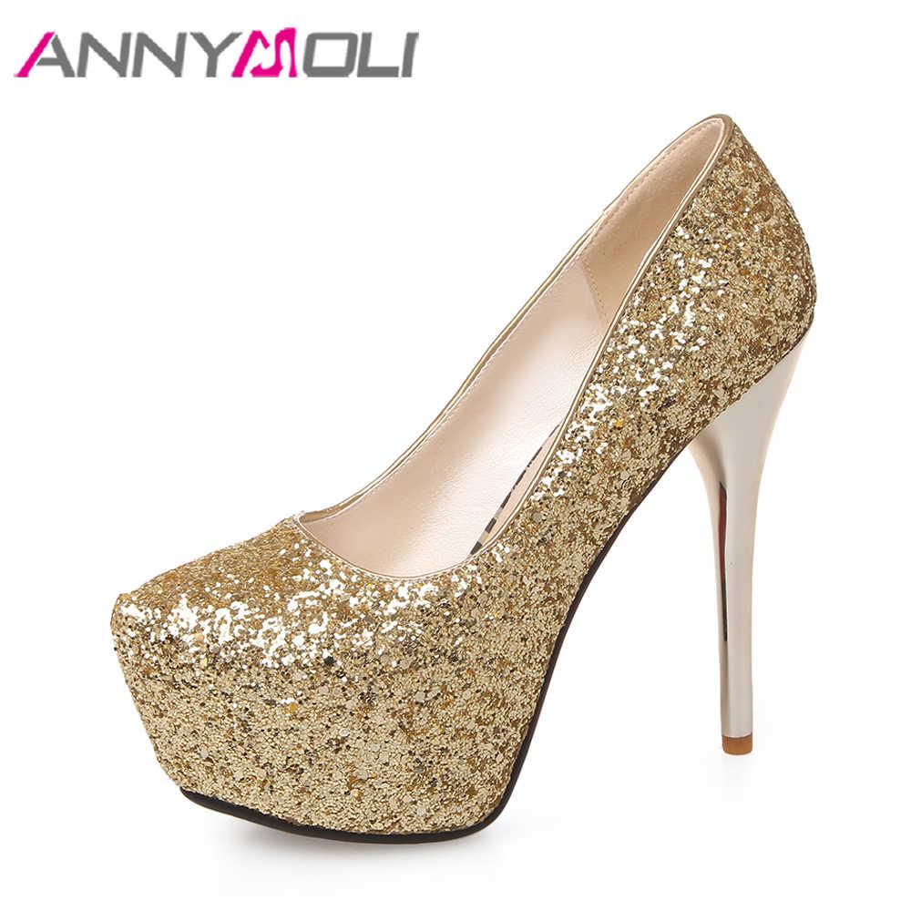 ANNYMOLI Platform High Heels Bridal Shoes Lady Stiletto Party Shoes Sexy  Wedding Pumps Extreme High Heels c9c9b3b0bfd7