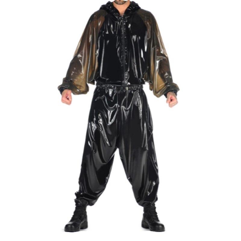 2019 In Lattice 100% Catsuit di Gomma Ruffle Sexy Smoek Grigio Vestito Allentato Con Cappuccio Generale Cosplay Unisex Formato Su Misura S-XXL