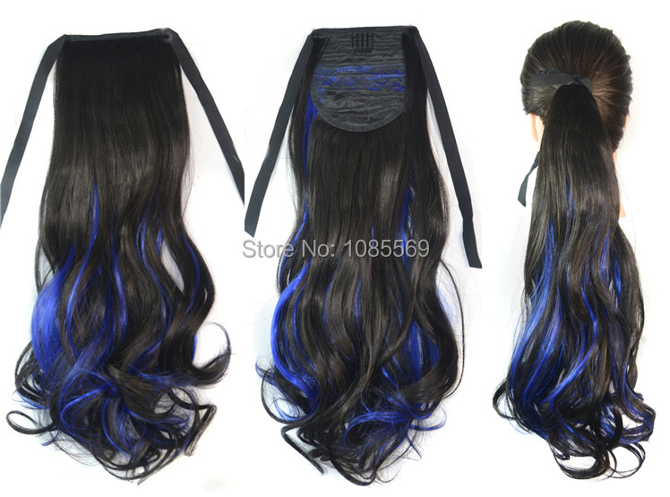 Luckygirl 18 Inches Black Highlights Mix Dark Blue Curly Ponytail