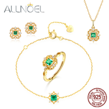 ALLNOEL 925 Sterling Silver Zircon Diamond Jewelry Set For Women Nano Green Cubic Zirconium Ring Earrings Bracelet Necklace Sets