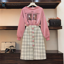 Cool Girl Casual Sweatshirt and Plaid Woolen Skirt 2 Piece Set Fall Winter Portrait Print Bright Silk Pullovers and Skirt Suits