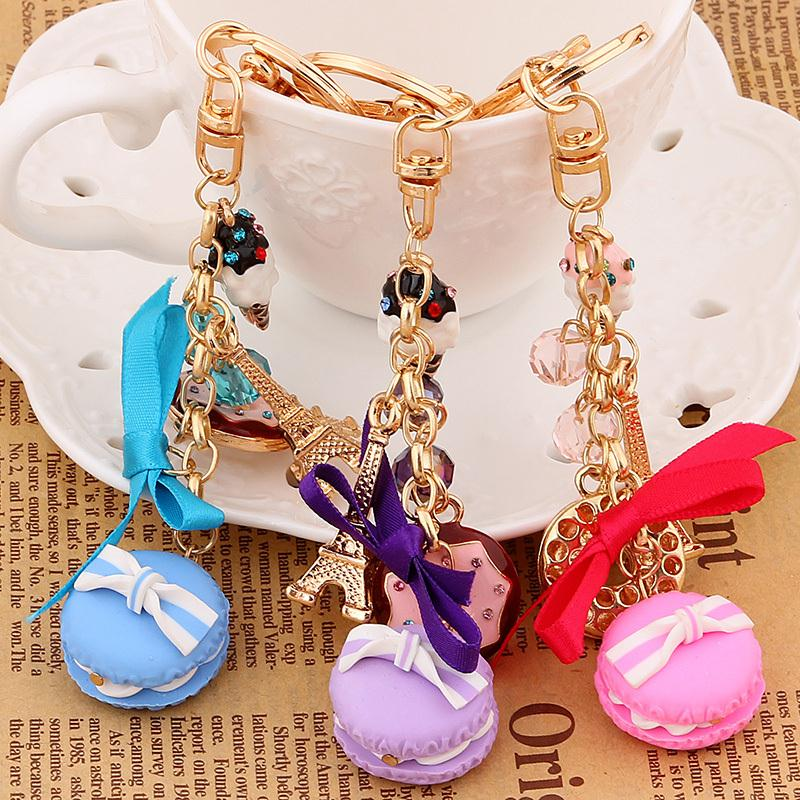 Fashion Rhinestone Cake Macarons France LADUREE Key Chains Holder Charm  Women Bag Decoration Jewelry Gift R011-in Key Chains from Jewelry    Accessories on ... 6b72570a6