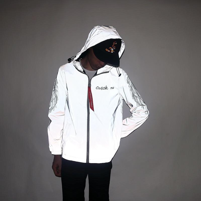 Aolamegs Men Jacket Sleeve Wing Printed Windbreaker Reflective Casual Streetwear Zipper Thin Fluorescent Sportswear