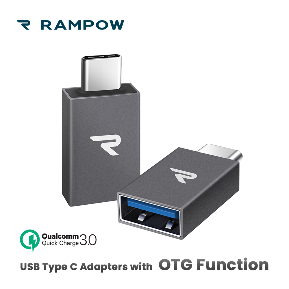 [2pcs/pack] RAMPOW OTG USB C Adapters 5Gbps QC3.0 Type C Adapter For MacBook USB 3.0 USB Adapter For Samsung S9/Huawei P20 Lite