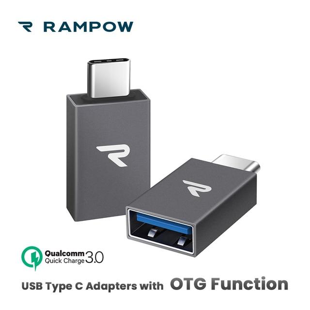 [2 יח'\אריזה] RAMPOW OTG USB C מתאמי 5Gbps QC3.0 סוג C מתאם עבור MacBook USB 3.0 USB מתאם עבור סמסונג S9/Huawei P20 לייט