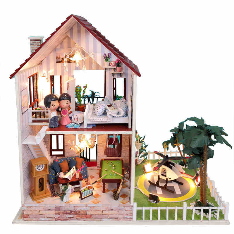 diy wooden large doll house miniature furniture house for. Black Bedroom Furniture Sets. Home Design Ideas
