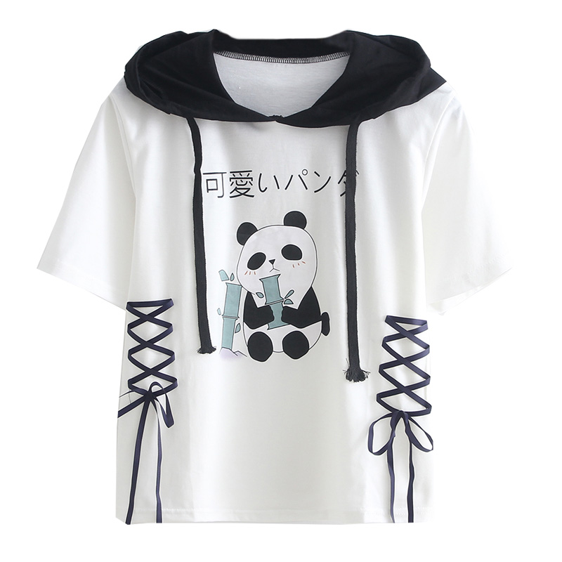 Harajuku Style women Panda and Panda Ears Kawaii T Shirt Student School Cute Tops Mori Girls Bandage camisetas verano mujer 2019 image