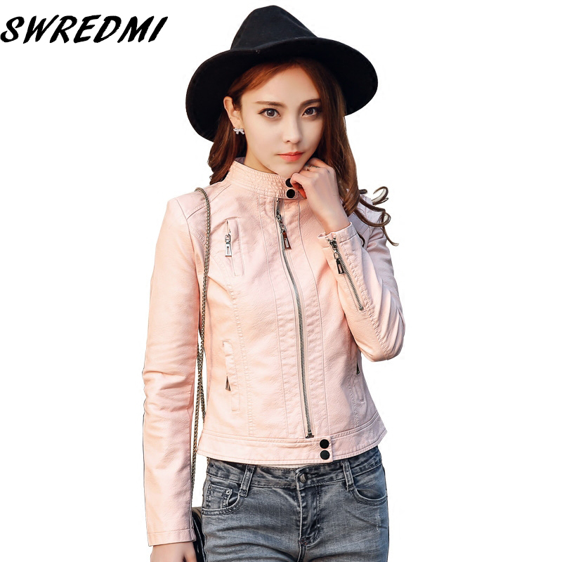 SWREDMI New Arrival Women   Leather   Coat Feminino Motorcycle   Leather   Jacket Slim O-Neck Pink Short Casaco Plus Size S-3XL
