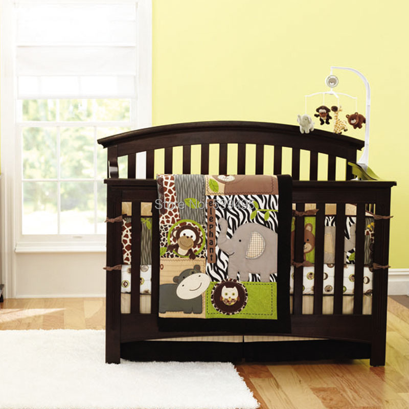 7 Pcs Baby Crib Bedding Set, infant bedroom nursery bedding, cot bedding, animal design for baby boy