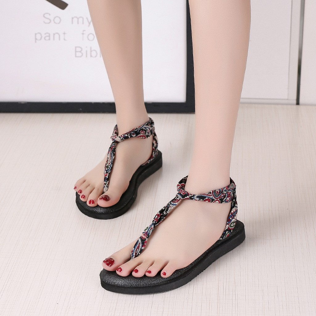 Women sandals 2019 summer Womens Summer Slip-On Flat print Elastic band Bohemia Open Toe Breathable Sandals Beach ShoesWomen sandals 2019 summer Womens Summer Slip-On Flat print Elastic band Bohemia Open Toe Breathable Sandals Beach Shoes