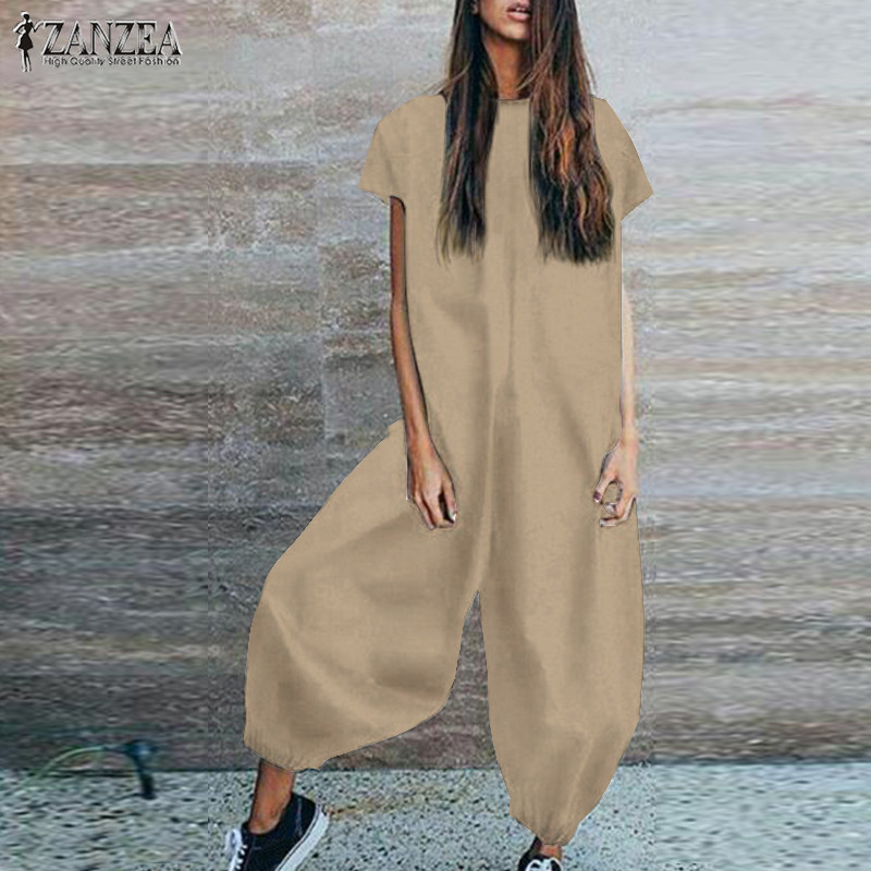 ZANZEA Plus Size Linen Overalls For Women's Jumpsuit Vintage Playsuits Pants Lantern Pantalon Vintage Macacao Feminino Rompers