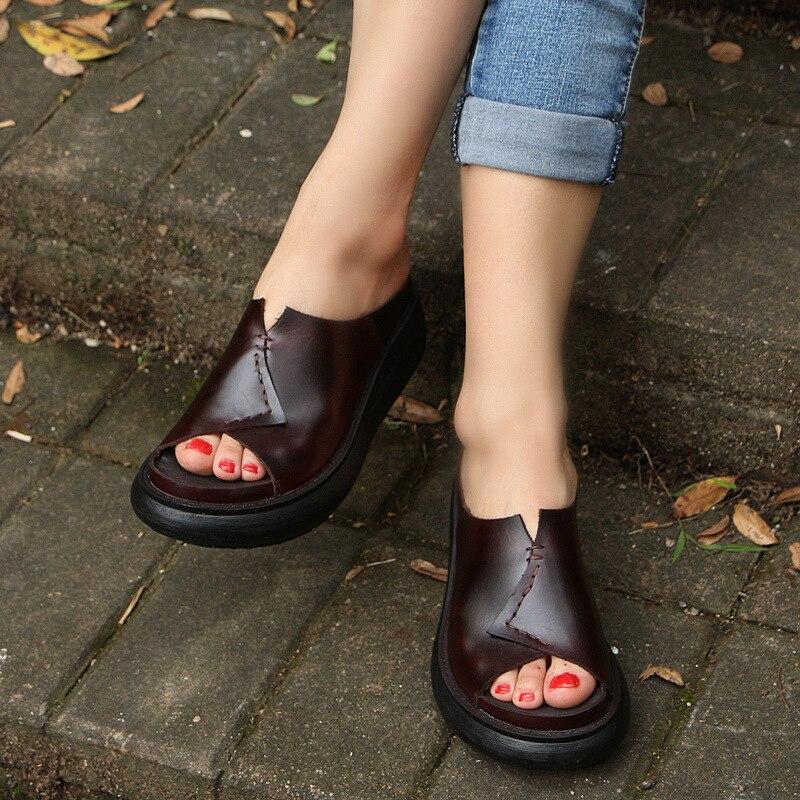 510 5 новая Оригинальная прошитая вручную кожаная обувь женские шлепанцы на толстой подошве женские шлепанцы для отдыха с рифленой подошвой ... - 3