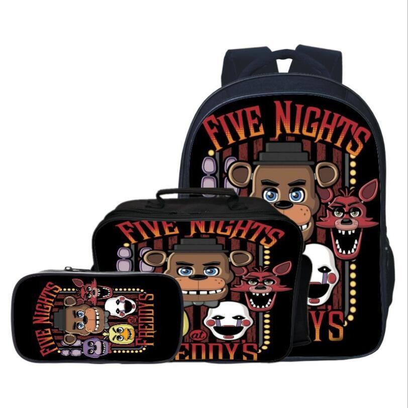 Nouveau Style 3 pièces/ensemble cinq nuits à Freddy enfants bébé sacs d'école FNAF Cartoon enfants sacs à dos pour garçons cartable filles Bookbag