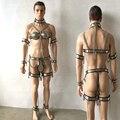 7 kit bondage pçs/set dispositivo cinto de castidade masculino mão braço tornozelo algemas coxa anel sutiã pescoço colarinho escravo bdsm produtos para sexo para homens