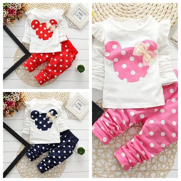 3df0c3dee € 7.36 26% de DESCUENTO|2016 moda Primavera otoño niños niñas conjuntos de  ropa minnie mouse ropa arco tops camiseta leggings Pantalones Bebé ...