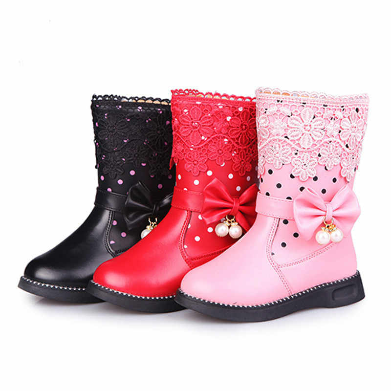 Autumn Winter Girls Boots for Kids Knee-high Leather Boots Fashion princess Fur Warm Snow Boots Waterproof Shoes Children Boots
