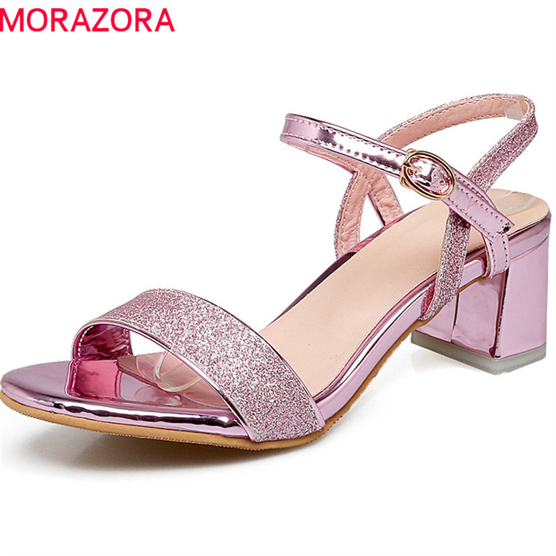 MORAZORA 2018 new arrive women sandals summer comfortable med heels sweet pink casual shoes simple buckle size 33-43 shoes woman morazora 2018 new women sandals summer sweet bowknot comfortable buckle spike high heels platform shoes peep toe shoes woman