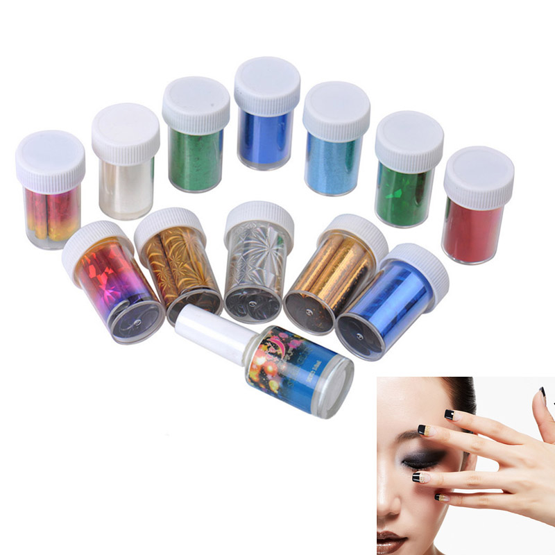 12 Colors Nail Art Transfer Foil Sticker for Nail Tips Decoration + Glue Set For Women Beauty Nail Sticker  2017 @ME88 top nail 20 rolls of laser gold silver glitter striping tape line nail art tips decals beauty transfer foil stickers for nails