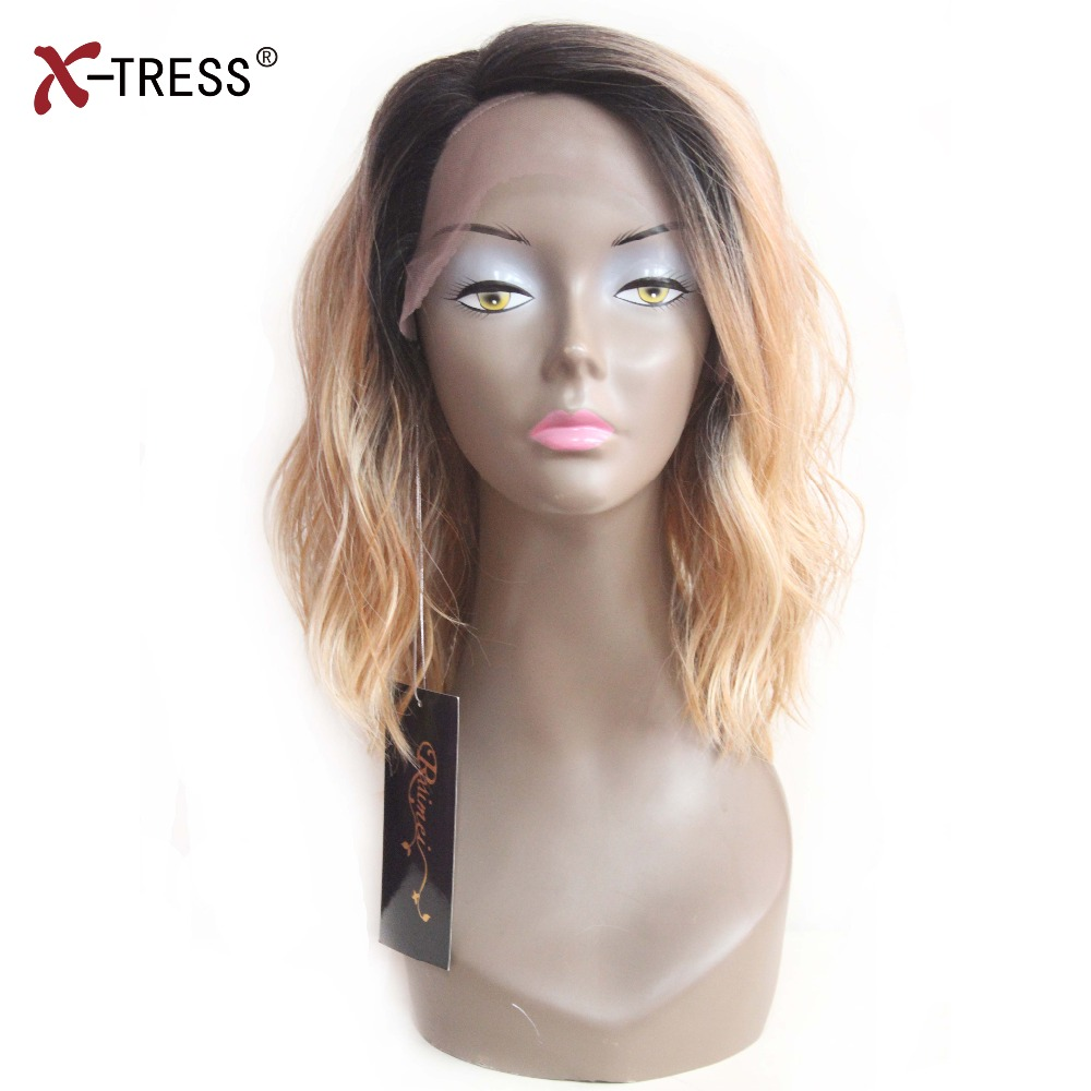 X-TRESS Synthetic Lace Front Wigs Ombre Brown Natural Wave Shoulder Length Deep Invisible Side L Part Short Bob Wigs For Women