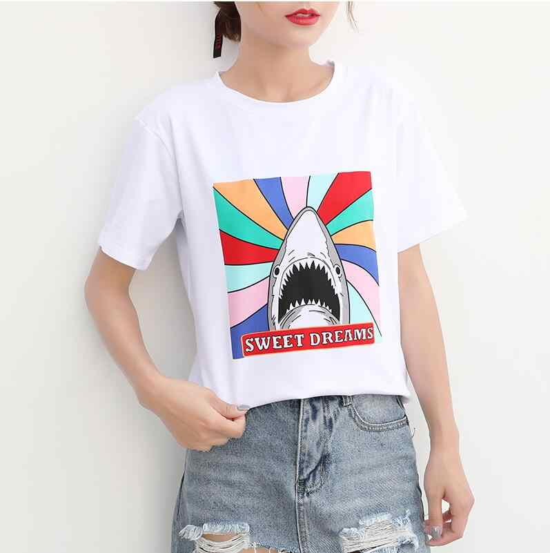 97f980fa3adc ... Women T shirt Unicorn Queen Pink Letters Print Cotton Casual Funny Shirt  For Lady White Cotton ...
